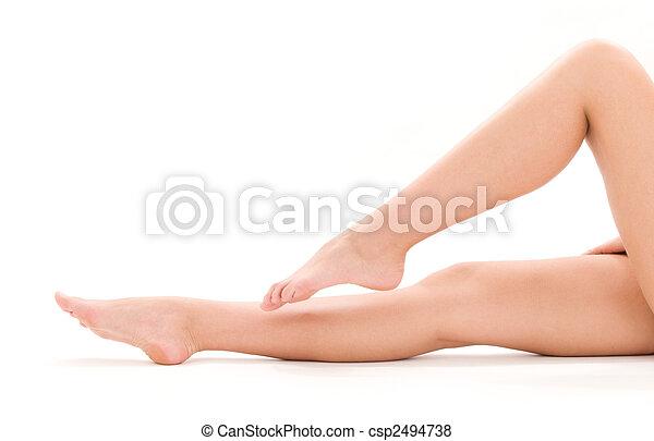 건강한, 아름다운 여성, 다리 - csp2494738