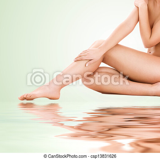 건강한, 아름다운 여성, 다리 - csp13831626