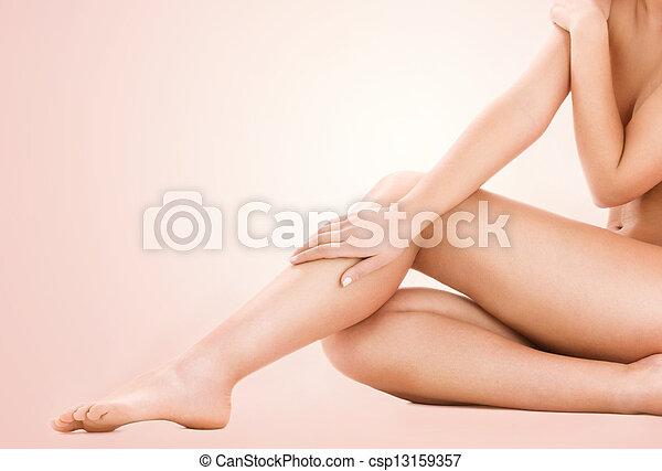 건강한, 아름다운 여성, 다리 - csp13159357