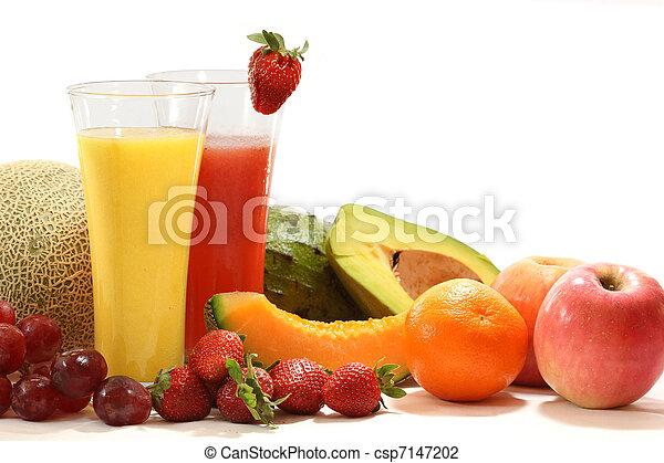 건강한, 야채, 과일 과즙 - csp7147202