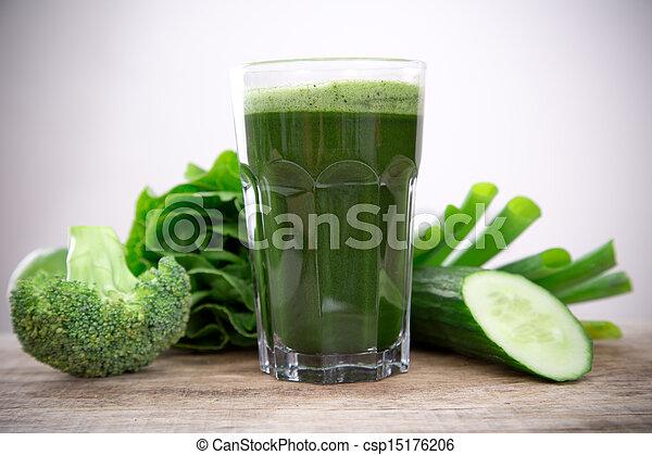 건강한, 주스, 녹색 - csp15176206