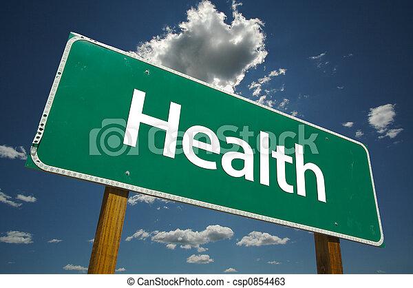 건강, 도로 표지 - csp0854463
