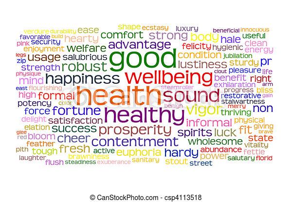 건강, 선, wellbeing하는 것, 구름, 꼬리표 - csp4113518