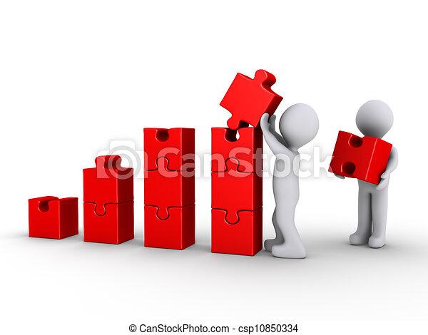 건물, 만든, 그래프, 수수께끼, 2개 조각, 사람 - csp10850334