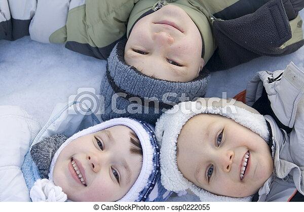 겨울, 아이들 - csp0222055