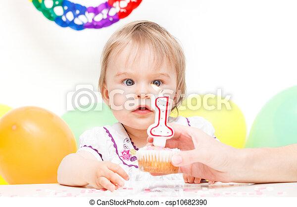 경축하는, 거의, 생일 소녀, 처음 - csp10682390
