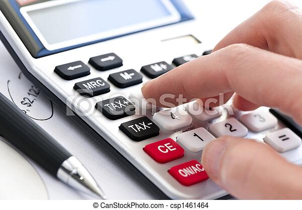 계산기, 세금, 펜 - csp1461464