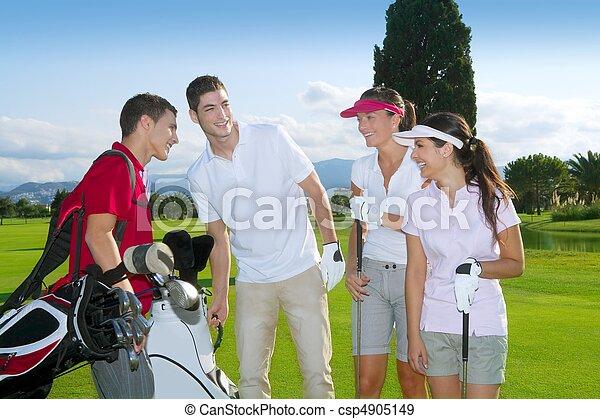 골프 코스, 사람, 나이 적은 편의, 선수, 팀, 그룹 - csp4905149