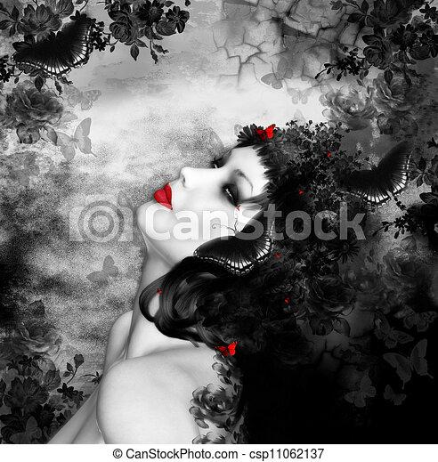 공상, 나비, 여자 - csp11062137