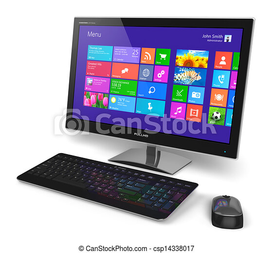 공용영역, touchscreen, 컴퓨터, 탁상용 컴퓨터 - csp14338017