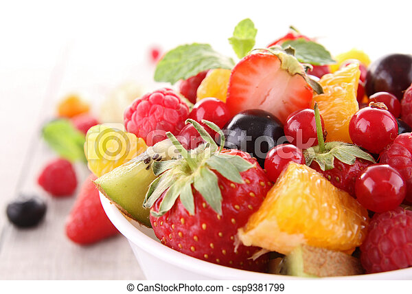 과일, 고립된, 샐러드 - csp9381799