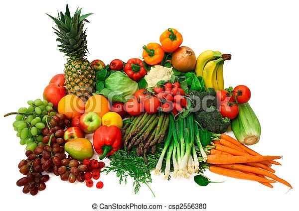 과일, 신선한 야채 - csp2556380