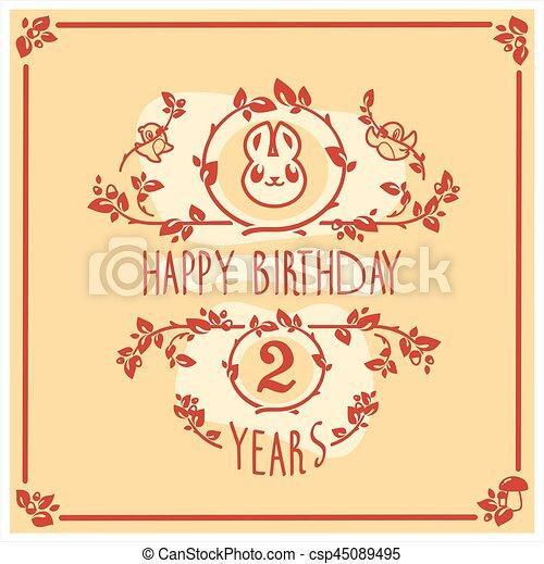 귀여운, 인사, 생일, 벡터, 초대, rabbit., 행복하다, 카드, design. - csp45089495