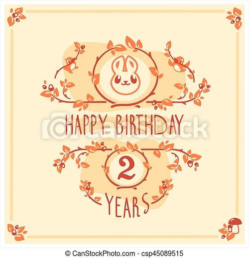 귀여운, 인사, 생일, 벡터, 초대, rabbit., 행복하다, 카드, design. - csp45089515