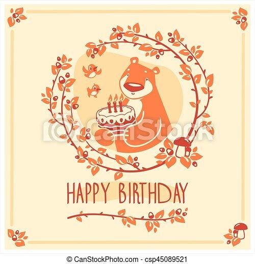 귀여운, 행복하다, 인사, 생일, 벡터, 곰, 초대, cake., 카드, design. - csp45089521