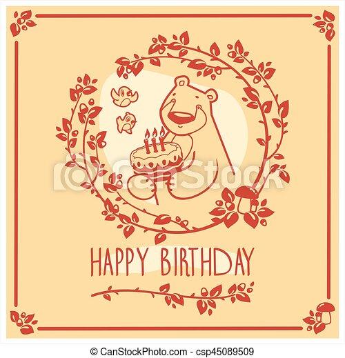 귀여운, 행복하다, 인사, 생일, 벡터, 곰, 초대, cake., 카드, design. - csp45089509