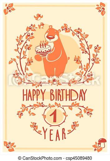 귀여운, 행복하다, 인사, 생일, 벡터, 곰, 초대, cake., 카드, design. - csp45089480