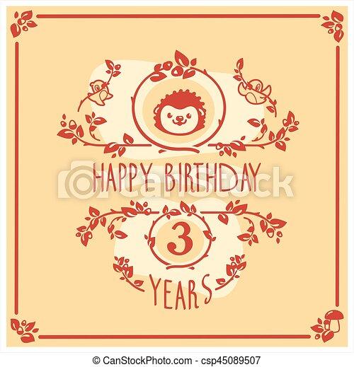 귀여운, hedgehog., 인사, 생일, 벡터, 초대, 행복하다, 카드, design. - csp45089507