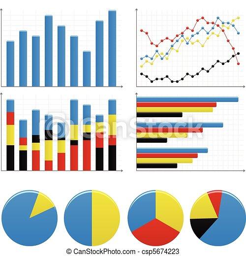 그래프, 막대기, 파이 도표 - csp5674223