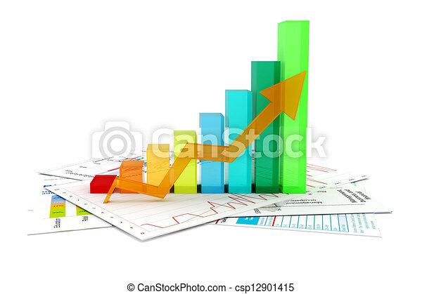 그래프, 문서, 사업, 3차원 - csp12901415