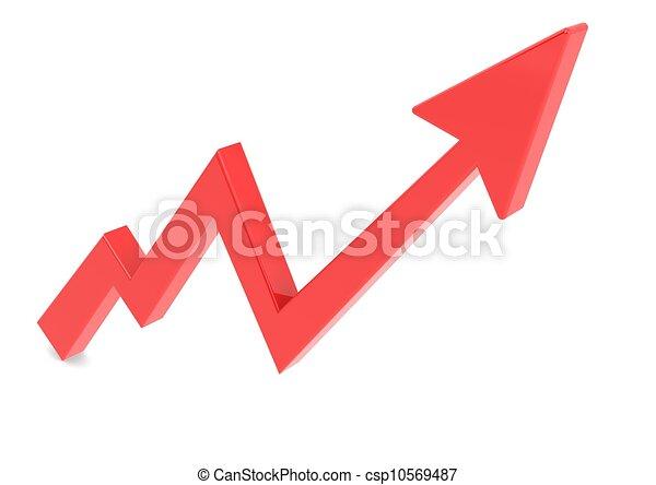 그래프, 빨강 화살, 위로의 - csp10569487