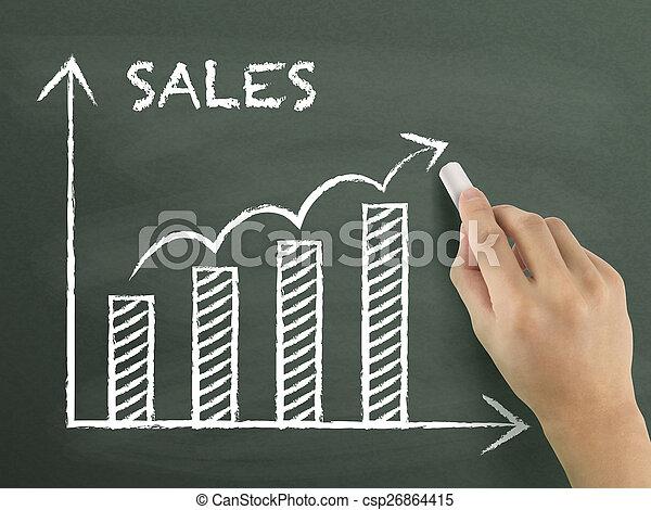 그래프, 성장, 그어진, 판매, 손 - csp26864415