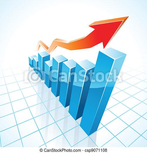그래프, 성장, 막대기, 사업, 3차원 - csp9071108