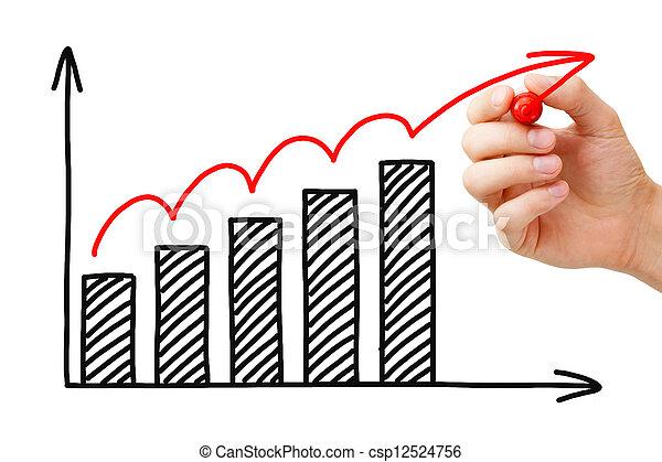 그래프, 성장, 사업 - csp12524756