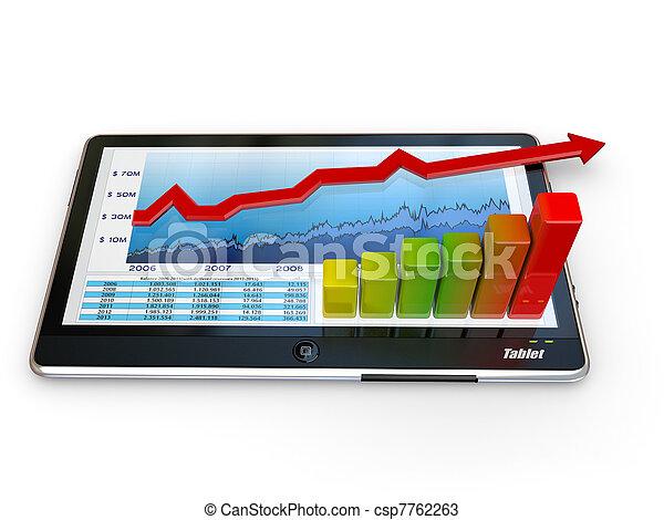 그래프, 스크린, 사업, 알약 pc - csp7762263