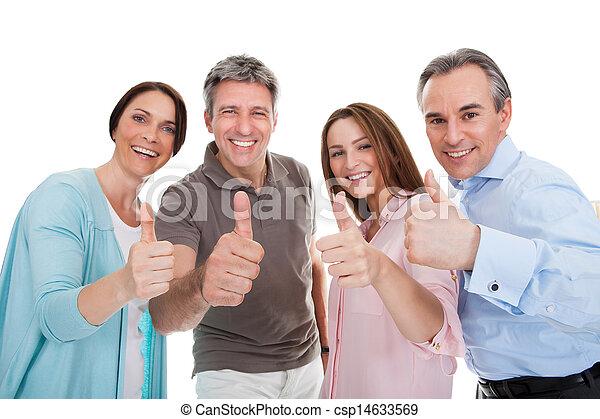 그룹, 엄지손가락, 사람, 전시, 위로의, 표시, 행복하다 - csp14633569