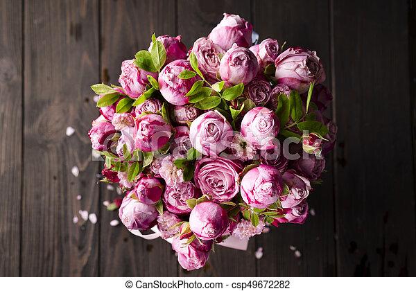 꽃다발, 크게, 장미 - csp49672282