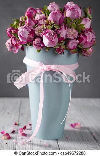 꽃다발, 크게, 장미 - csp49672288