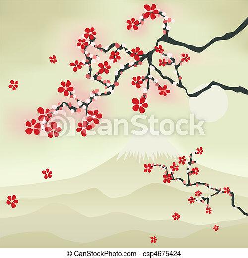 꽃, 버찌, 일본어 - csp4675424