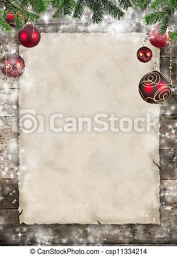 나무로 되는 판자, 주제, 종이, 공백, 크리스마스 - csp11334214