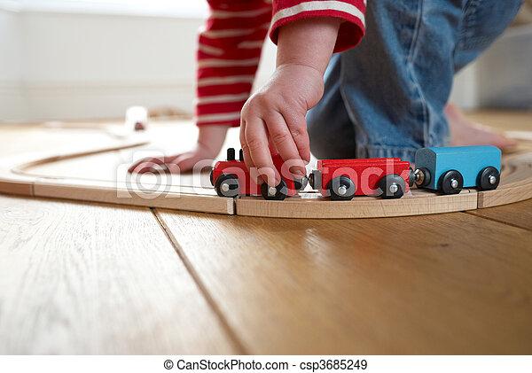 나무의 기차, 장난감, 노는 것, 아이 - csp3685249