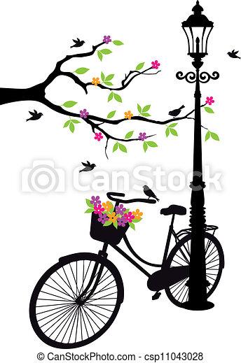 나무, 꽃, 램프, 자전거 - csp11043028