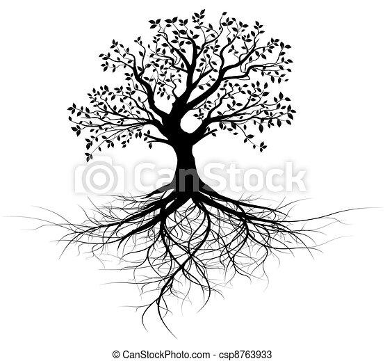나무, 벡터, 전체, 뿌리, 검정 - csp8763933