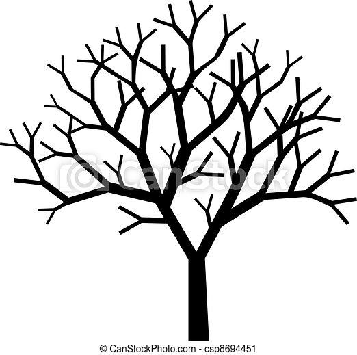 나무, 실루엣 - csp8694451