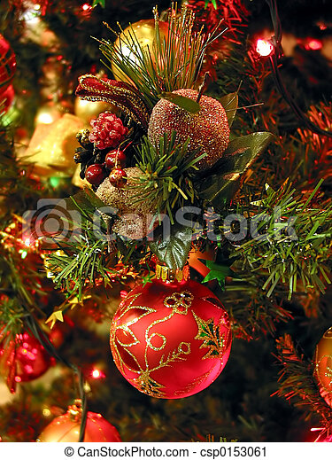 나무, 크리스마스 장신구 - csp0153061