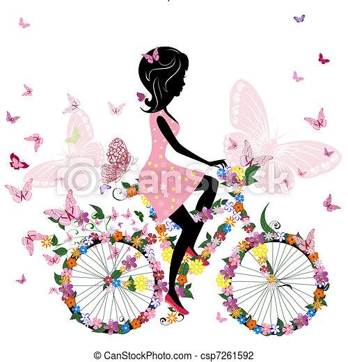 나비, 자전거, 공상에 잠기는, 소녀 - csp7261592