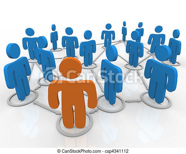 네트워크, 친목회, 링크된다, 사람 - csp4341112