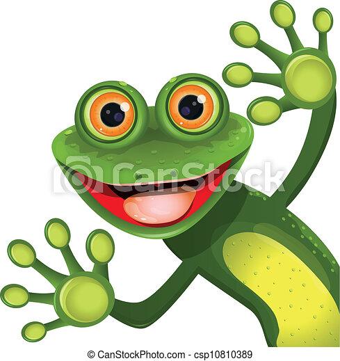 녹색, 명랑한, 개구리 - csp10810389