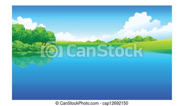 녹색, 호수, 조경술을 써서 녹화하다 - csp12692150