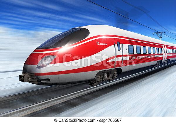 높은, 기차, 속력, 겨울 - csp4766567