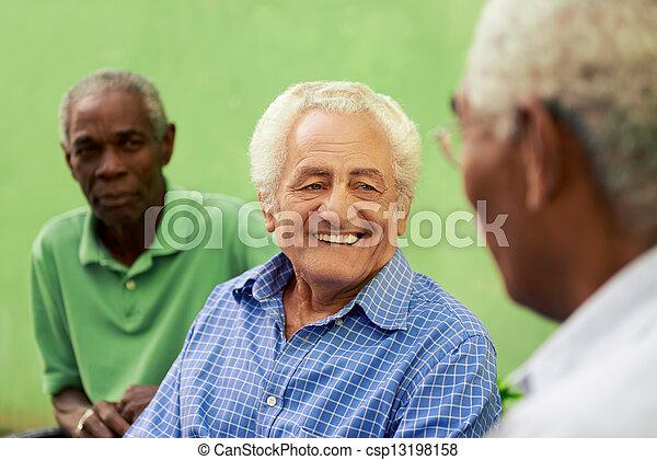 늙은, 사람, 공원, 말하는 것, 검정, 그룹, 코카서스 사람 - csp13198158