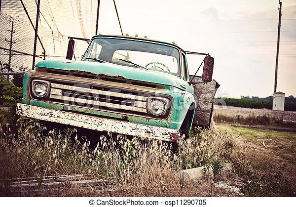 늙은, 차, 길, 우리, rusty, 역사적이다, 66, 계속 앞으로 - csp11290705