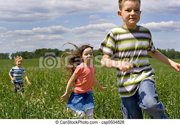 달리기, 아이들 - csp0504828