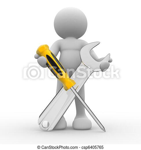 도구, 나사 돌리개, 렌치 - csp6405765
