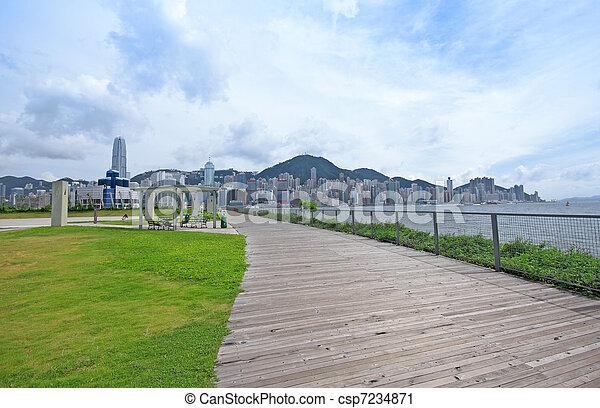 도시 공원, 녹색, 완전히, 통로 - csp7234871