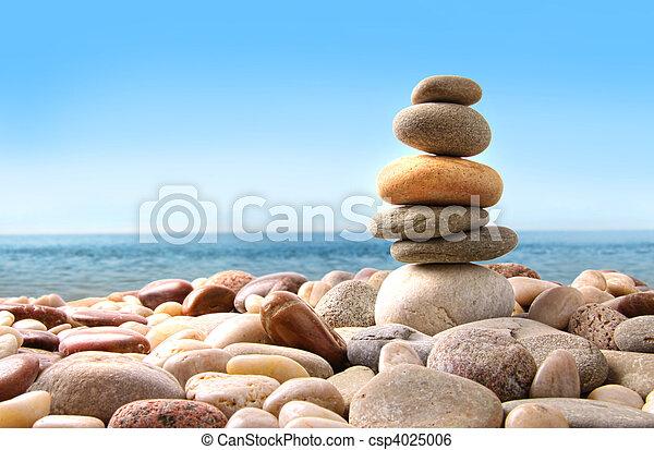 돌, 조약돌, 백색, 스택 - csp4025006